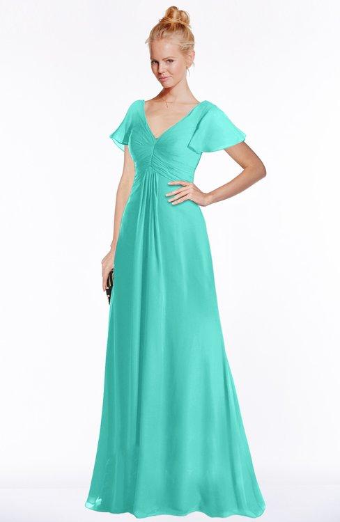 ColsBM Ellen Blue Turquoise Modern A-line V-neck Short Sleeve Zip up Floor Length Bridesmaid Dresses