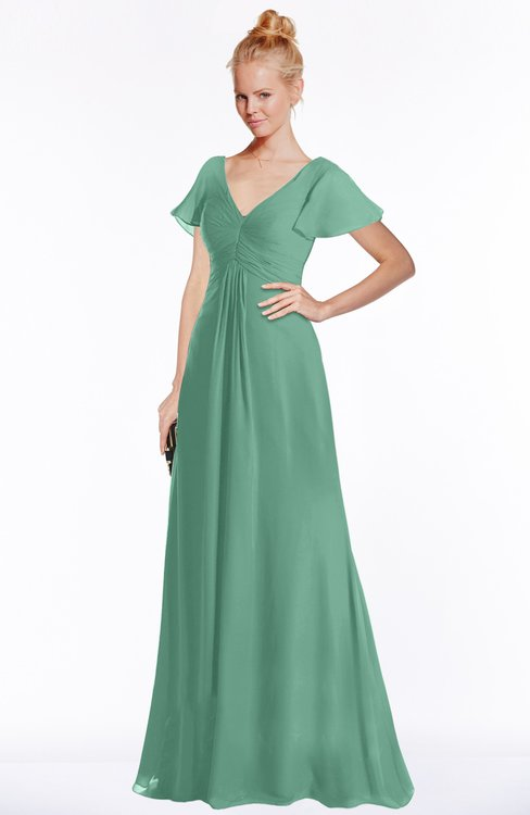ColsBM Ellen Bristol Blue Modern A-line V-neck Short Sleeve Zip up Floor Length Bridesmaid Dresses