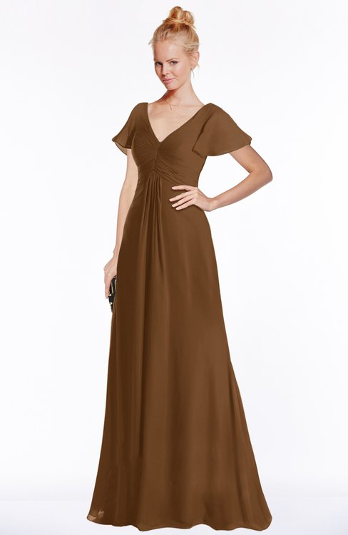 ColsBM Ellen Brown Modern A-line V-neck Short Sleeve Zip up Floor Length Bridesmaid Dresses