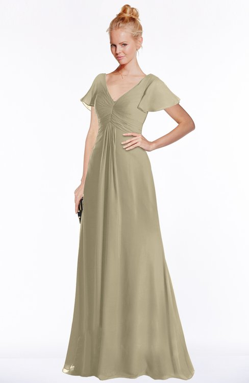 ColsBM Ellen Candied Ginger Modern A-line V-neck Short Sleeve Zip up Floor Length Bridesmaid Dresses