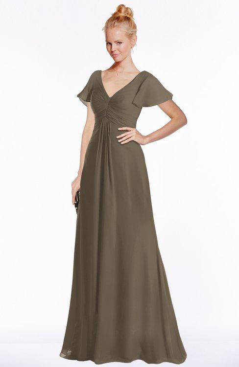 ColsBM Ellen Carafe Brown Modern A-line V-neck Short Sleeve Zip up Floor Length Bridesmaid Dresses