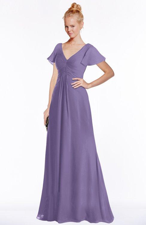 ColsBM Ellen Chalk Violet Modern A-line V-neck Short Sleeve Zip up Floor Length Bridesmaid Dresses