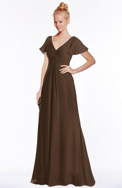 ColsBM Ellen Chocolate Brown Modern A-line V-neck Short Sleeve Zip up Floor Length Bridesmaid Dresses