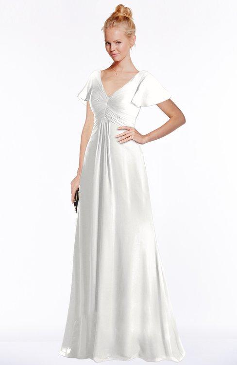 ColsBM Ellen Cloud White Modern A-line V-neck Short Sleeve Zip up Floor Length Bridesmaid Dresses