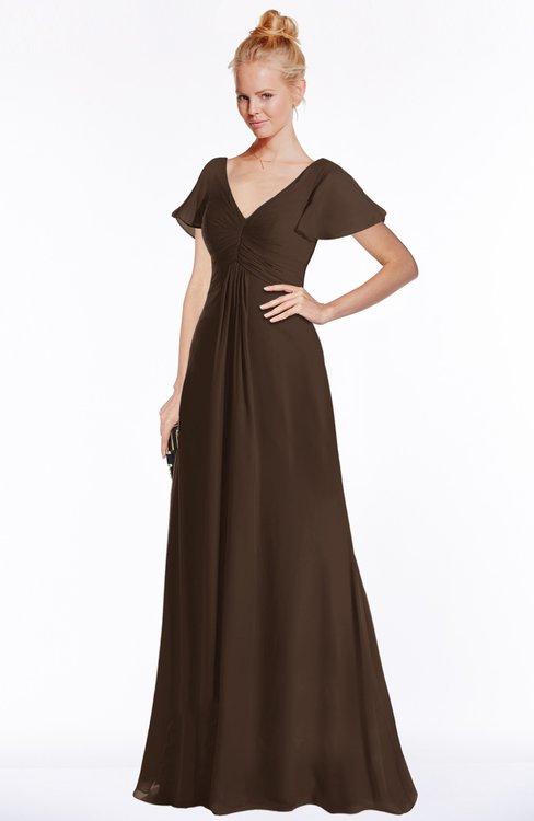 ColsBM Ellen Copper Modern A-line V-neck Short Sleeve Zip up Floor Length Bridesmaid Dresses