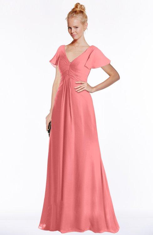 ColsBM Ellen Coral Modern A-line V-neck Short Sleeve Zip up Floor Length Bridesmaid Dresses