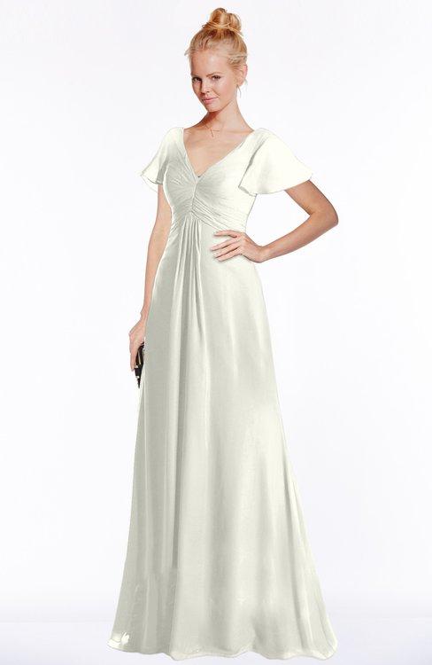 ColsBM Ellen Cream Modern A-line V-neck Short Sleeve Zip up Floor Length Bridesmaid Dresses