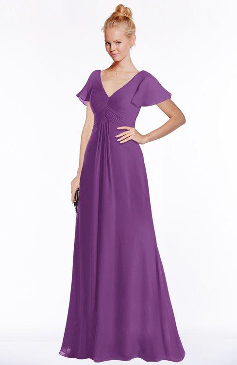 ColsBM Ellen Dahlia Modern A-line V-neck Short Sleeve Zip up Floor Length Bridesmaid Dresses
