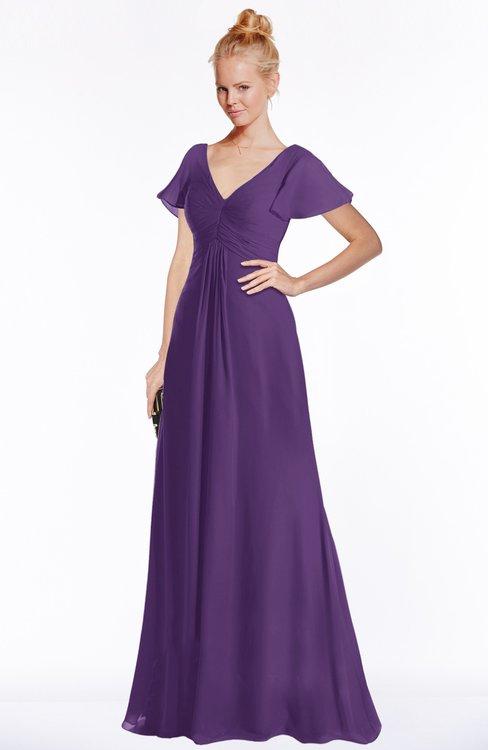 ColsBM Ellen Dark Purple Modern A-line V-neck Short Sleeve Zip up Floor Length Bridesmaid Dresses