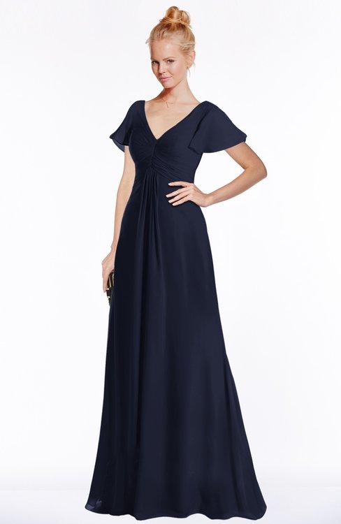 ColsBM Ellen Dark Sapphire Modern A-line V-neck Short Sleeve Zip up Floor Length Bridesmaid Dresses