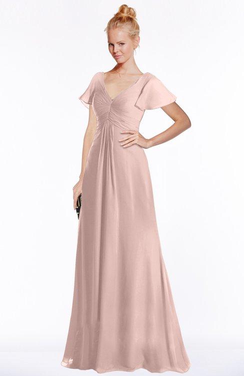 ColsBM Ellen Dusty Rose Modern A-line V-neck Short Sleeve Zip up Floor Length Bridesmaid Dresses