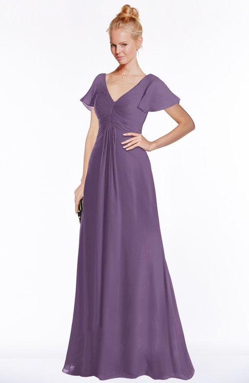 ColsBM Ellen Eggplant Modern A-line V-neck Short Sleeve Zip up Floor Length Bridesmaid Dresses