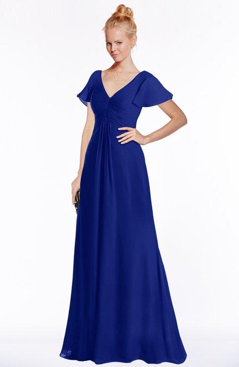 ColsBM Ellen Electric Blue Modern A-line V-neck Short Sleeve Zip up Floor Length Bridesmaid Dresses