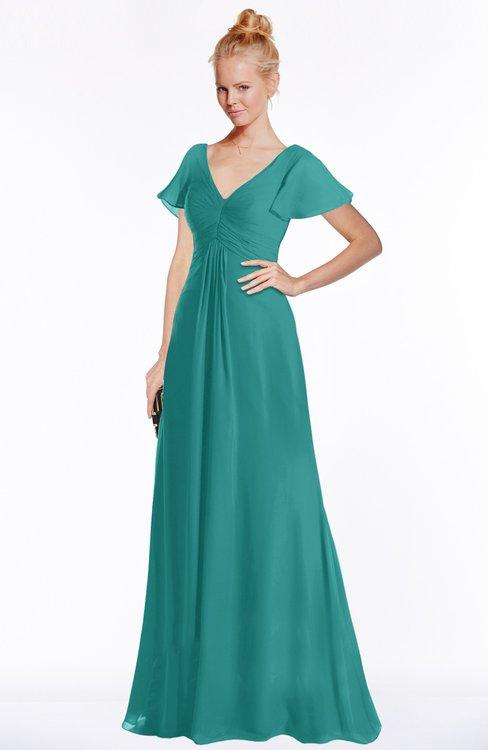 ColsBM Ellen Emerald Green Modern A-line V-neck Short Sleeve Zip up Floor Length Bridesmaid Dresses