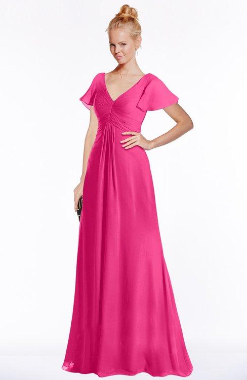 ColsBM Ellen Fandango Pink Modern A-line V-neck Short Sleeve Zip up Floor Length Bridesmaid Dresses