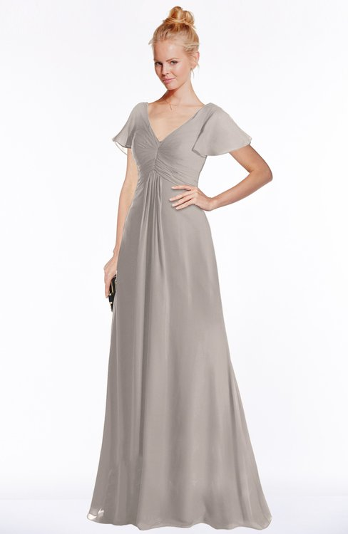 ColsBM Ellen Fawn Modern A-line V-neck Short Sleeve Zip up Floor Length Bridesmaid Dresses