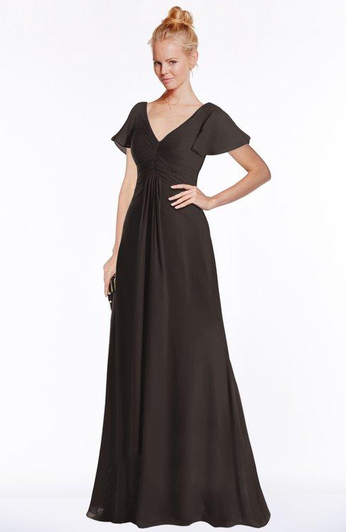 ColsBM Ellen Fudge Brown Modern A-line V-neck Short Sleeve Zip up Floor Length Bridesmaid Dresses