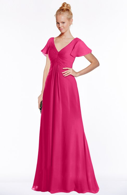 ColsBM Ellen Fuschia Modern A-line V-neck Short Sleeve Zip up Floor Length Bridesmaid Dresses