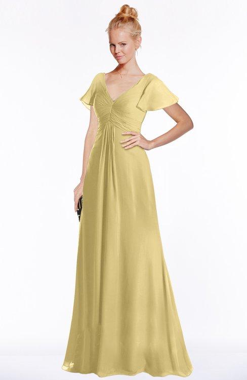 ColsBM Ellen Gold Modern A-line V-neck Short Sleeve Zip up Floor Length Bridesmaid Dresses