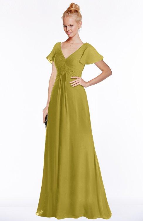 ColsBM Ellen Golden Olive Modern A-line V-neck Short Sleeve Zip up Floor Length Bridesmaid Dresses