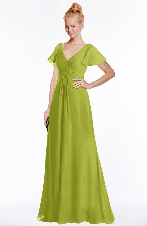 ColsBM Ellen Green Oasis Modern A-line V-neck Short Sleeve Zip up Floor Length Bridesmaid Dresses