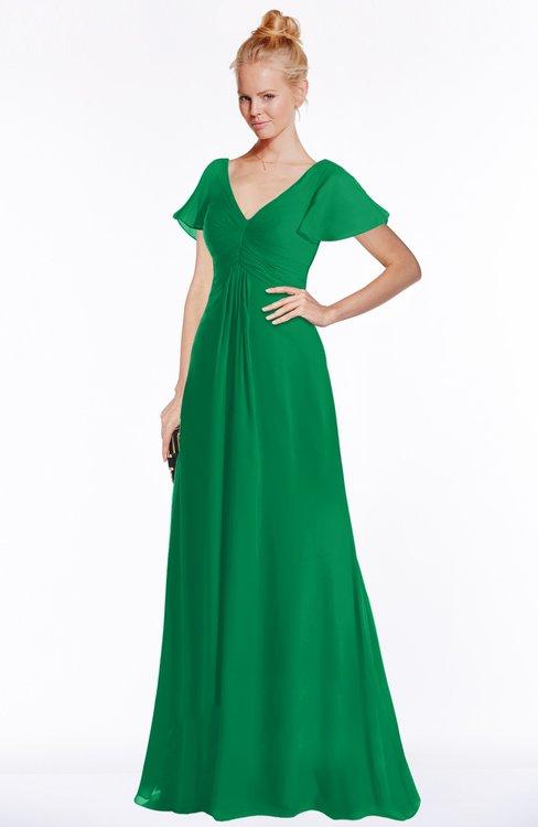 ColsBM Ellen Green Modern A-line V-neck Short Sleeve Zip up Floor Length Bridesmaid Dresses