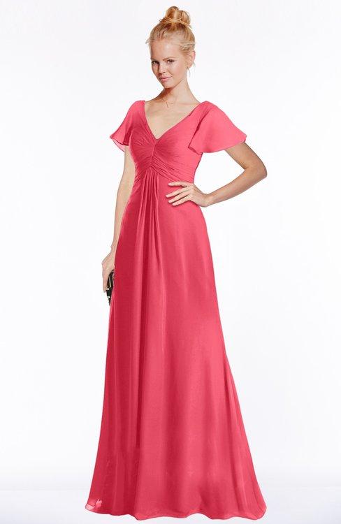 ColsBM Ellen Guava Modern A-line V-neck Short Sleeve Zip up Floor Length Bridesmaid Dresses