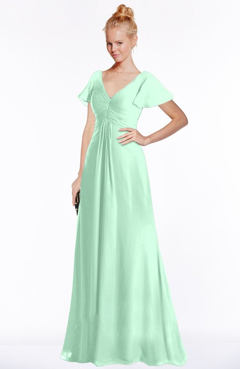 ColsBM Ellen Honeydew Modern A-line V-neck Short Sleeve Zip up Floor Length Bridesmaid Dresses