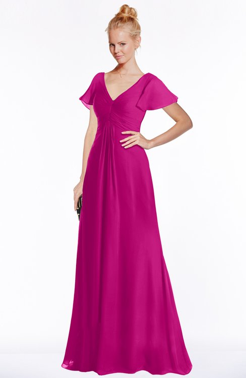 ColsBM Ellen Hot Pink Modern A-line V-neck Short Sleeve Zip up Floor Length Bridesmaid Dresses