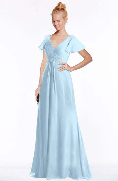 ColsBM Ellen Ice Blue Modern A-line V-neck Short Sleeve Zip up Floor Length Bridesmaid Dresses