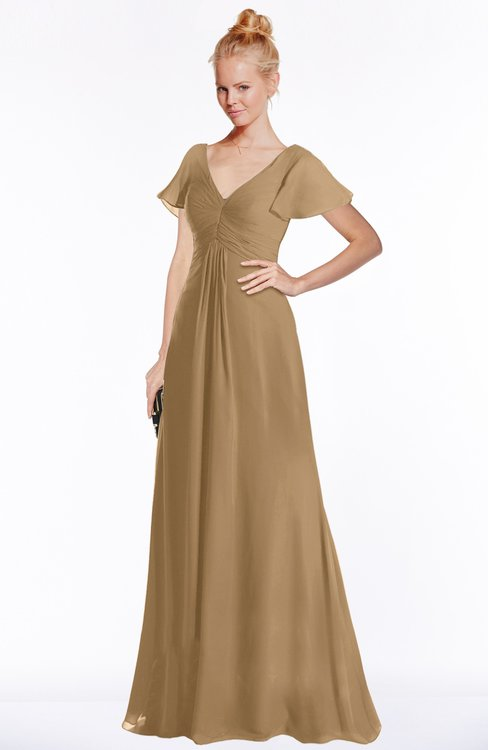 ColsBM Ellen Indian Tan Modern A-line V-neck Short Sleeve Zip up Floor Length Bridesmaid Dresses