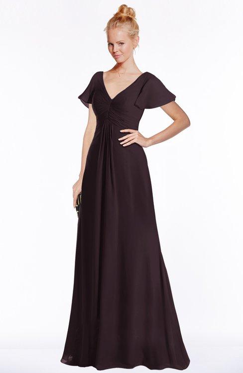 ColsBM Ellen Italian Plum Modern A-line V-neck Short Sleeve Zip up Floor Length Bridesmaid Dresses