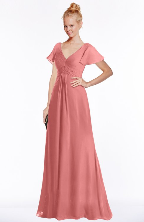 ColsBM Ellen Lantana Modern A-line V-neck Short Sleeve Zip up Floor Length Bridesmaid Dresses