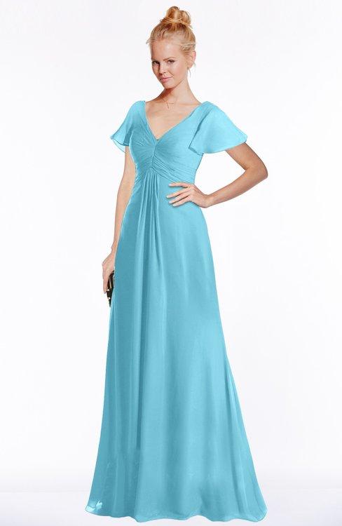 ColsBM Ellen Light Blue Modern A-line V-neck Short Sleeve Zip up Floor Length Bridesmaid Dresses