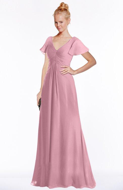 ColsBM Ellen Light Coral Modern A-line V-neck Short Sleeve Zip up Floor Length Bridesmaid Dresses