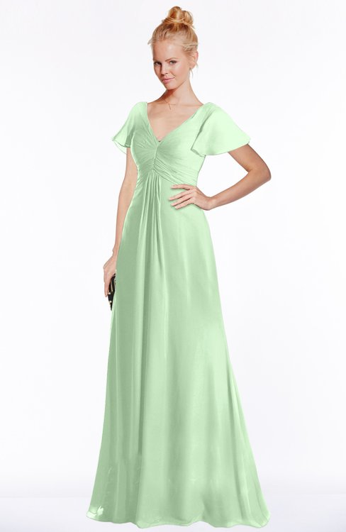 ColsBM Ellen Light Green Modern A-line V-neck Short Sleeve Zip up Floor Length Bridesmaid Dresses