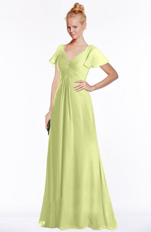 ColsBM Ellen Lime Green Modern A-line V-neck Short Sleeve Zip up Floor Length Bridesmaid Dresses