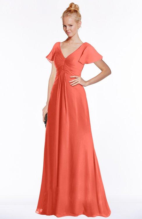 ColsBM Ellen Living Coral Modern A-line V-neck Short Sleeve Zip up Floor Length Bridesmaid Dresses