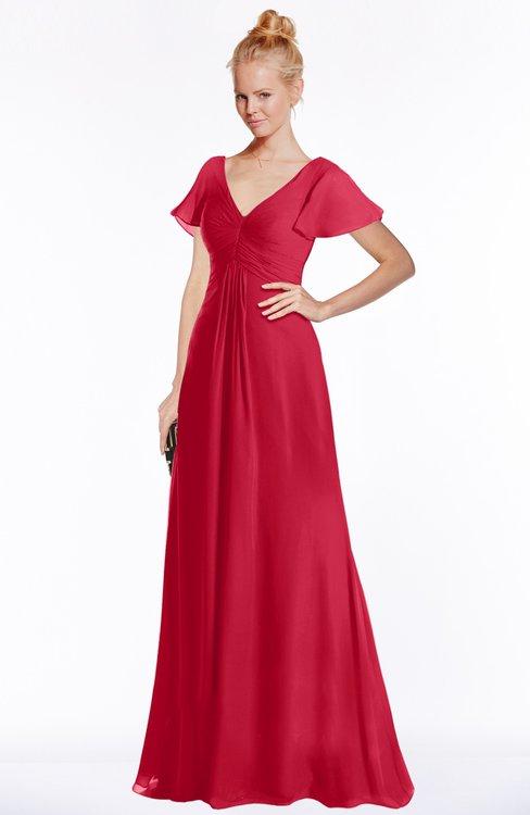 ColsBM Ellen Lollipop Modern A-line V-neck Short Sleeve Zip up Floor Length Bridesmaid Dresses