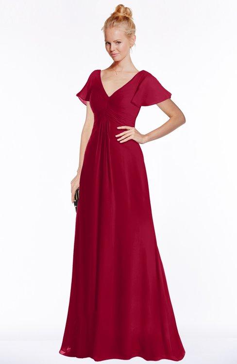 ColsBM Ellen Maroon Modern A-line V-neck Short Sleeve Zip up Floor Length Bridesmaid Dresses