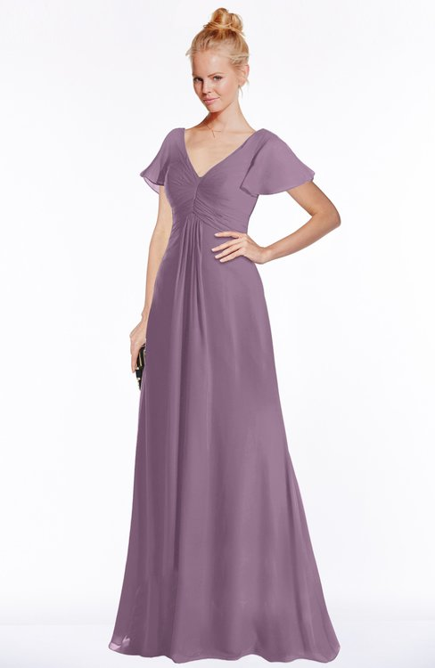 ColsBM Ellen Mauve Modern A-line V-neck Short Sleeve Zip up Floor Length Bridesmaid Dresses