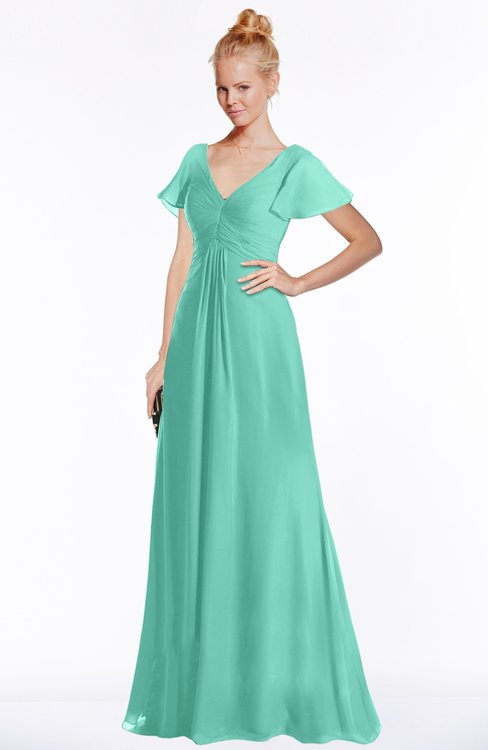 ColsBM Ellen Mint Green Modern A-line V-neck Short Sleeve Zip up Floor Length Bridesmaid Dresses