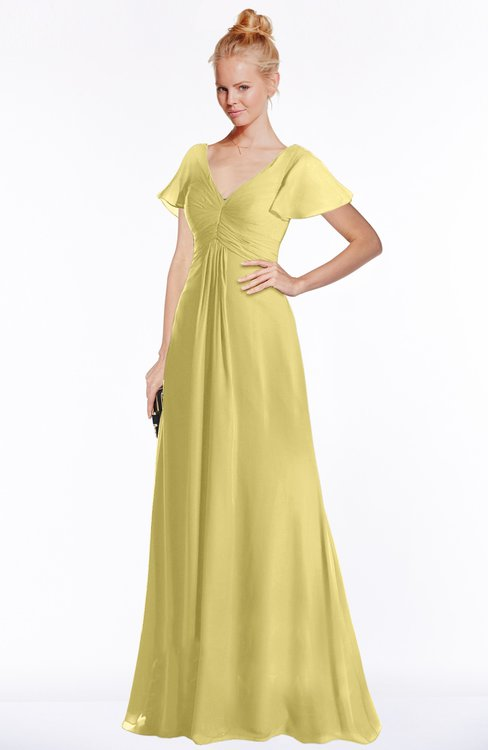 ColsBM Ellen Misted Yellow Modern A-line V-neck Short Sleeve Zip up Floor Length Bridesmaid Dresses