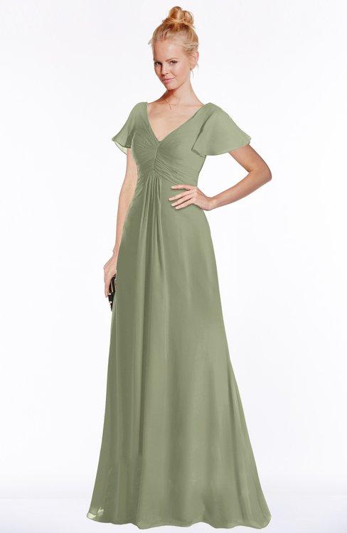 ColsBM Ellen Moss Green Modern A-line V-neck Short Sleeve Zip up Floor Length Bridesmaid Dresses