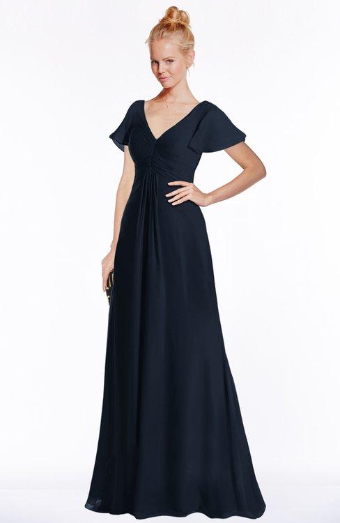 ColsBM Ellen Navy Blue Modern A-line V-neck Short Sleeve Zip up Floor Length Bridesmaid Dresses