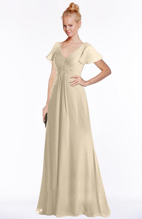 ColsBM Ellen Novelle Peach Modern A-line V-neck Short Sleeve Zip up Floor Length Bridesmaid Dresses