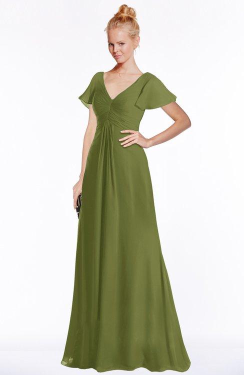 ColsBM Ellen Olive Green Modern A-line V-neck Short Sleeve Zip up Floor Length Bridesmaid Dresses