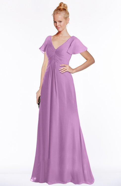 ColsBM Ellen Orchid Modern A-line V-neck Short Sleeve Zip up Floor Length Bridesmaid Dresses