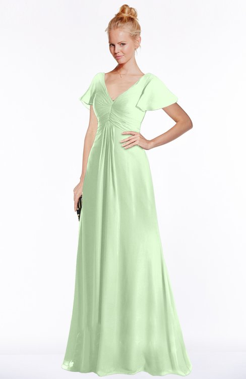 ColsBM Ellen Pale Green Modern A-line V-neck Short Sleeve Zip up Floor Length Bridesmaid Dresses