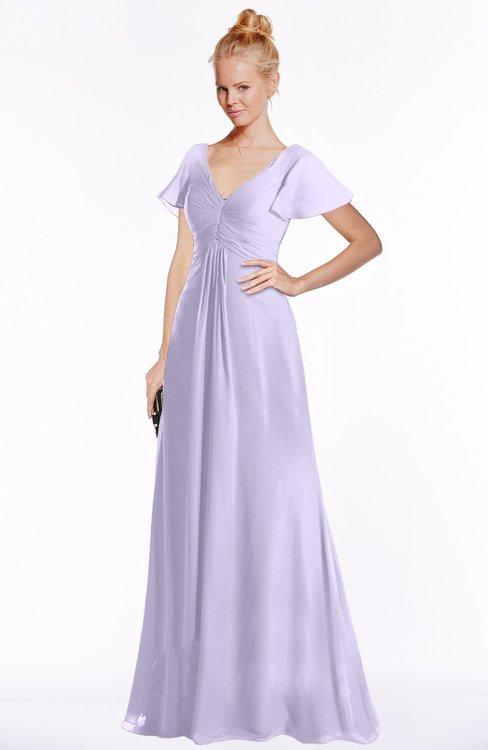 ColsBM Ellen Pastel Lilac Modern A-line V-neck Short Sleeve Zip up Floor Length Bridesmaid Dresses